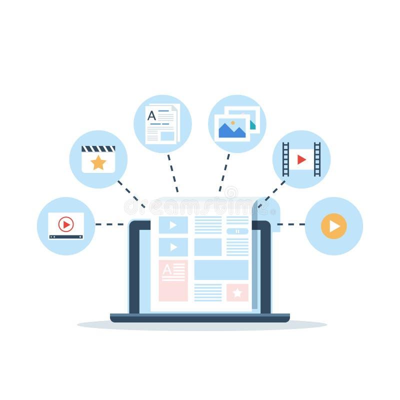Zufriedenes Marketing, Blogging und SMM-Konzept im flachen Design Die Blogseite ergänzen mit Inhalt Artikel und Medien lizenzfreie abbildung