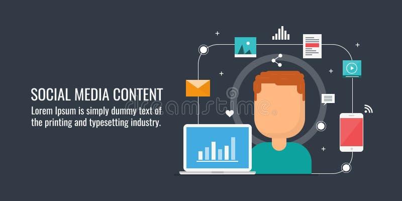 Zufriedenes Marketing, Veröffentlichung des digitalen Inhalts auf Sozialem Netz, Web-Inhalt, Social Media kämpft Flache Designvek lizenzfreie abbildung