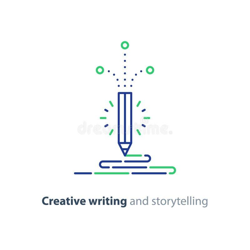 Zufriedenes Schreiben, kreative Geschichtenerzählenvektorikone stock abbildung
