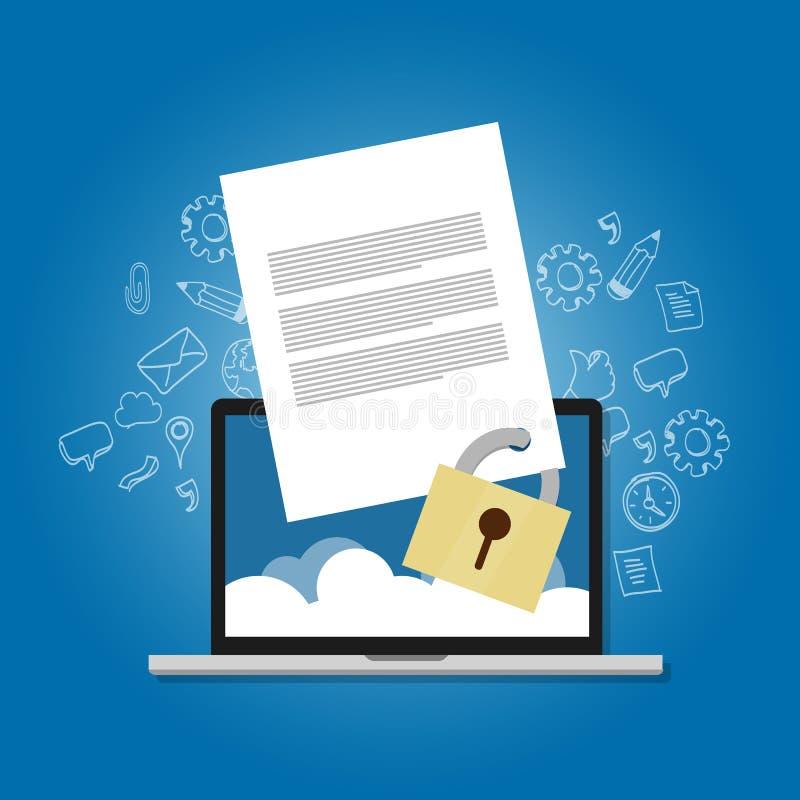 Zufriedenes SicherheitsDateisicherungsdokumentenpapier schloss die vertrauliche verbotene Sicherheitsverschlüsselung zu lizenzfreie abbildung