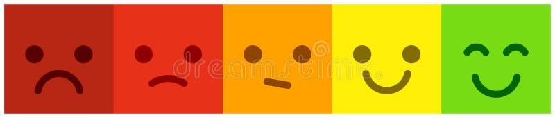 Zufriedenheits-Skala mit bunten smileyknöpfen Lassen Sie Feedback stock abbildung