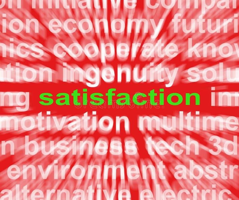 Zufriedenheits-Wort zeigt Genuss-Zufriedenheit und Erfüllung lizenzfreie abbildung