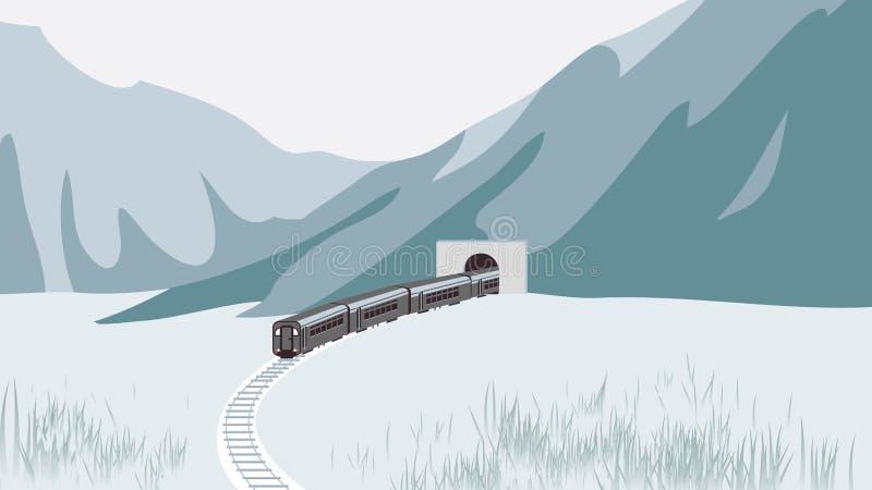 Zug, der durch Tunnel unter Berg überschreitet vektor abbildung