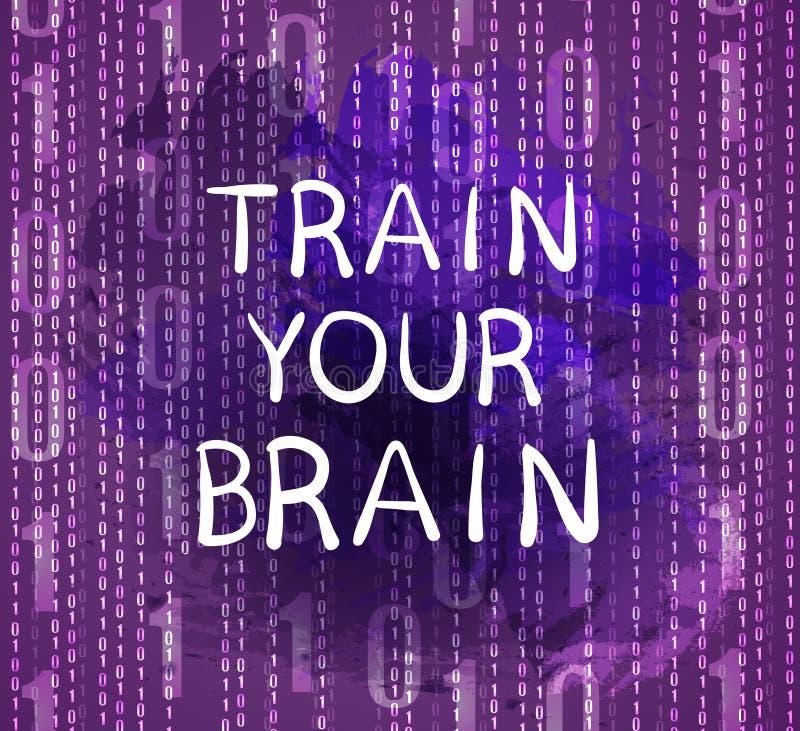 ` Zug Ihr Gehirn ` Text auf purpurrotem Hintergrund mit Zahlen, gezeichnete Buchstaben des VEKTORS Hand stock abbildung