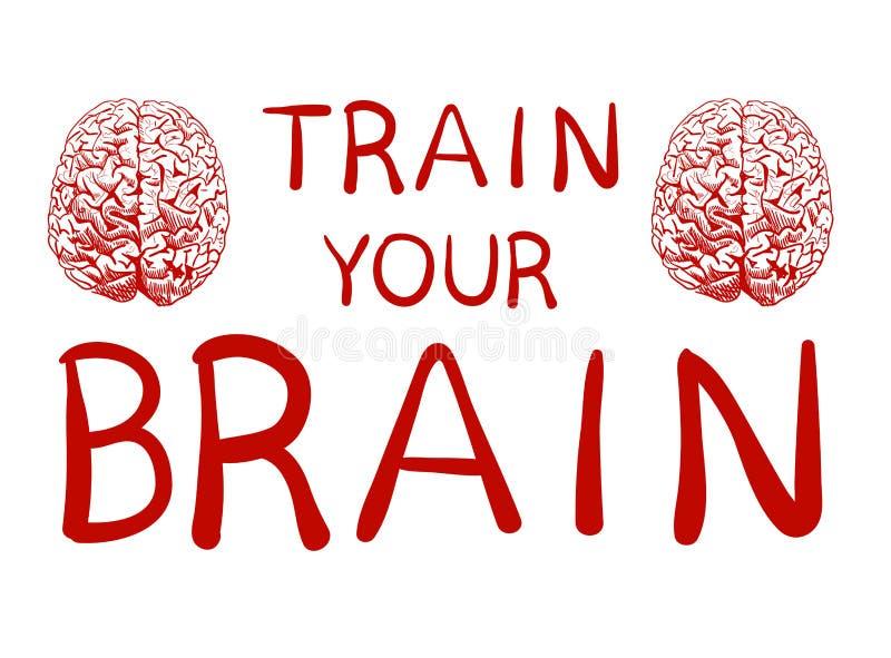 ` Zug Ihr Gehirn ` Text mit Hand gezeichneter Gehirnskizze VEKTOR-Illustration, rote handgeschriebene Buchstaben stock abbildung