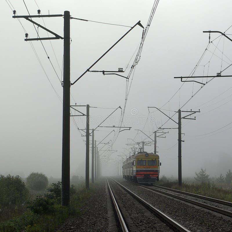 Zug im Nebel stockfotografie