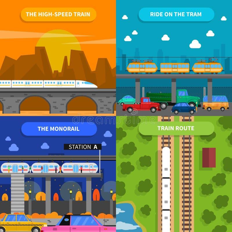 Zug-Konzept-Ikonen eingestellt lizenzfreie abbildung