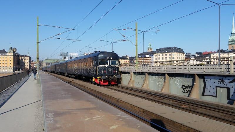 Zug in Stockholm stockbild