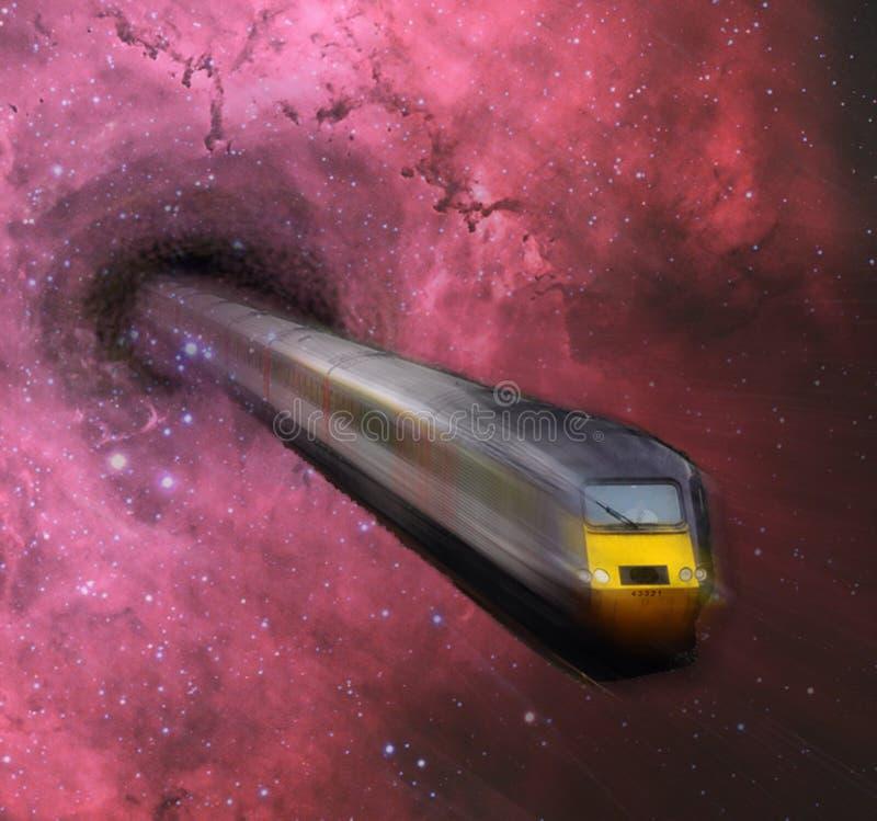 Zug und schwarzes Loch im Raum extrahieren Hintergrundtapete vektor abbildung