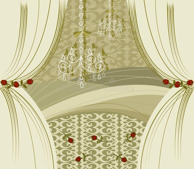 Zugabegoldtrennvorhänge stock abbildung