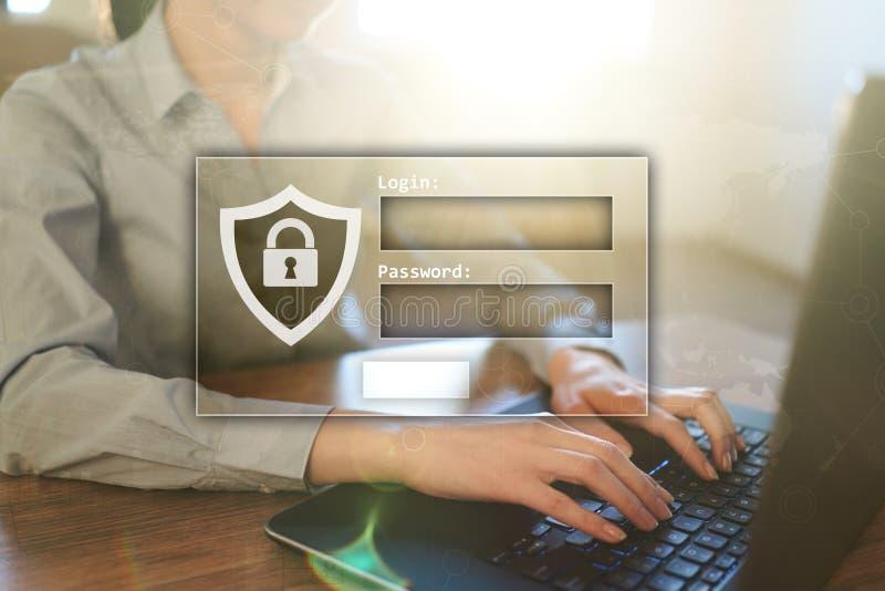Zugangsfenster mit LOGON und Passwort Cybersecurity und Datenschutzkonzept auf virtuellem Schirm stockbilder