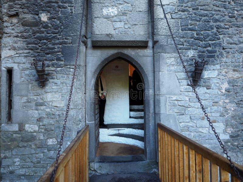 Zugbrücke an Bunratty-Schloss Irland stockfotografie