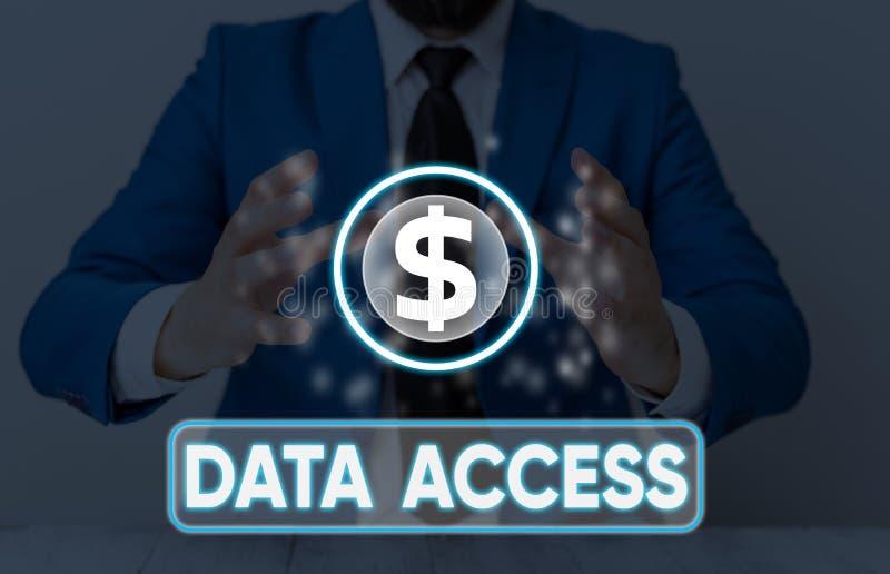 Zugriff auf Textschreibtexte Geschäftskonzept für Benutzer ist der Zugriff auf in einer Datenbank gespeicherte Daten stockfotos