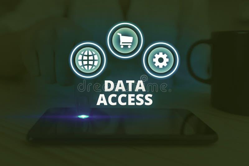 Zugriff auf Textschreibtexte Geschäftskonzept für Benutzer ist der Zugriff auf in einer Datenbank gespeicherte Daten stockbilder