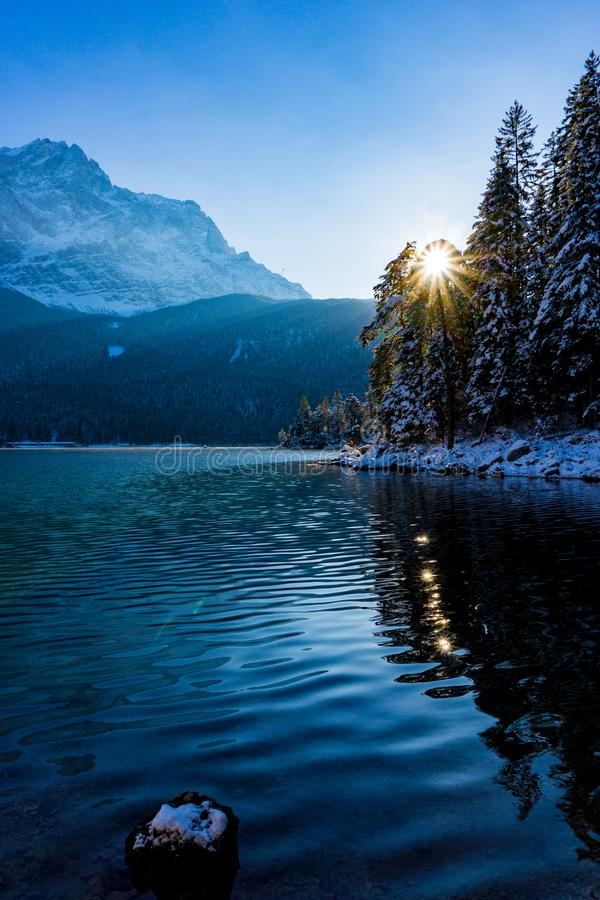Zugspitze and lake Eibsee in winter royalty free stock photo