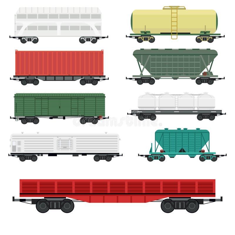 Zugwagen-Autoeisenbahn, ohne Transport des Reiseeisenbahnpassagiers zu streifen Vektor-Lastwagensich fortbewegenden stock abbildung