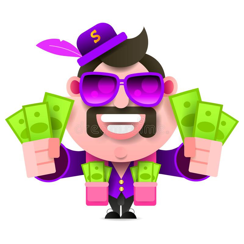 Zuhälter und Geld Tasche voll Bargeld Helle Kleidung und Zigarre Golddollar-Kettenschmuck lizenzfreie abbildung