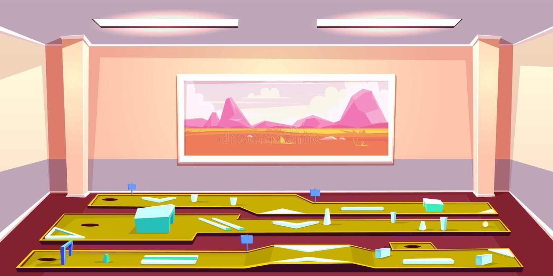 Zuhause Minigolfclubinnenkarikaturvektor vektor abbildung