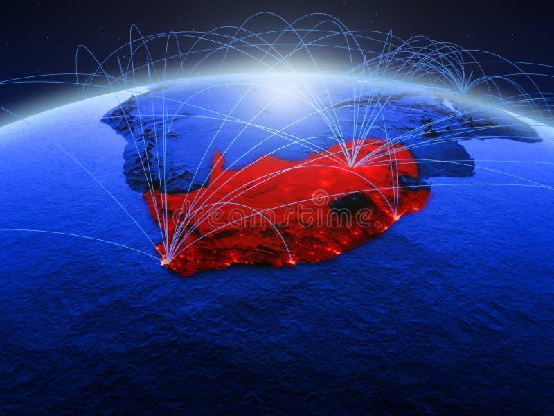 Zuid-Afrika op blauwe digitale aarde met internationaal netwerk die mededeling, reis en verbindingen vertegenwoordigen 3d royalty-vrije stock afbeeldingen