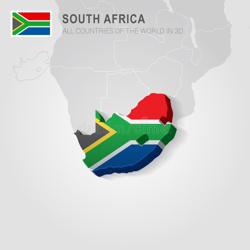 Zuid-Afrika op grijze kaart wordt getrokken die stock illustratie