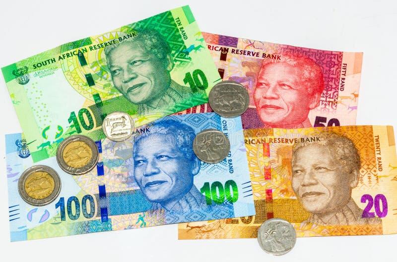 Zuid-Afrikaanse valuta, geïsoleerd op wit stock afbeeldingen