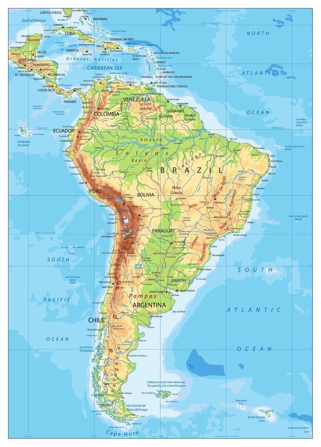 Zuid-Amerika detailleerde Fysieke Kaart royalty-vrije illustratie