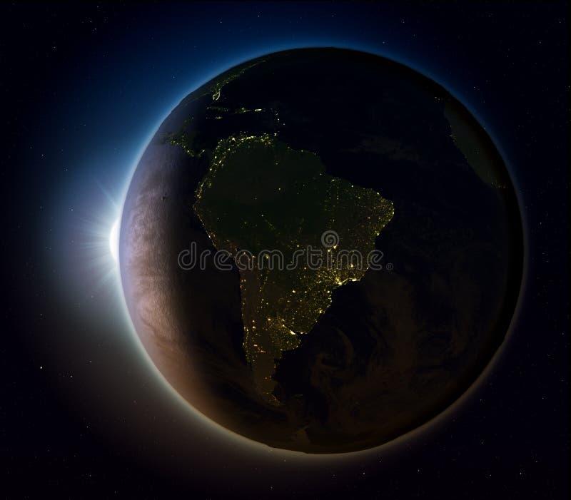 Zuid-Amerika van ruimte bij nacht vector illustratie