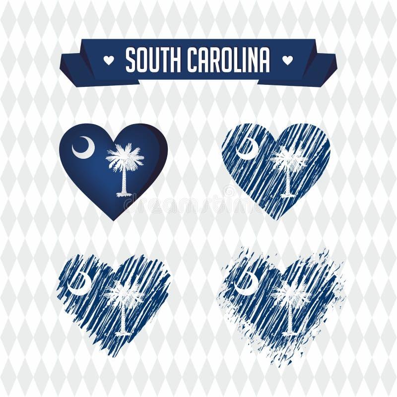 Zuid- Carolina Inzameling van vier vectorharten met vlag Hartsilhouet royalty-vrije illustratie