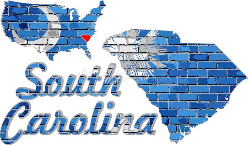 Zuid-Carolina op een bakstenen muur stock illustratie