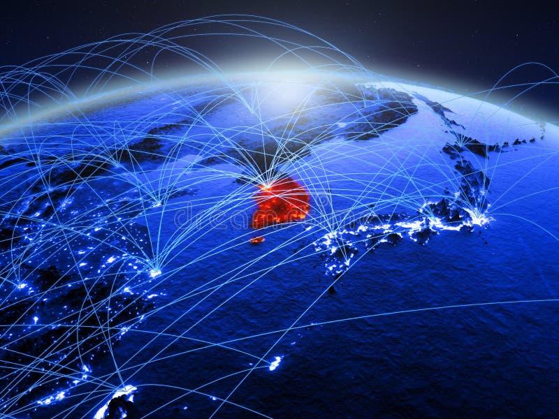 Zuid-Korea op blauwe digitale aarde met internationaal netwerk die mededeling, reis en verbindingen vertegenwoordigen 3d royalty-vrije stock afbeelding