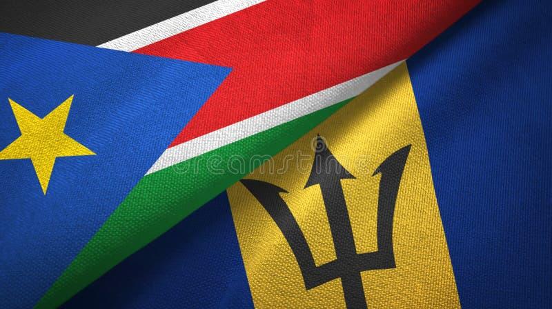 Zuid-Soedan en Barbados twee vlaggen textieldoek, stoffentextuur stock foto's