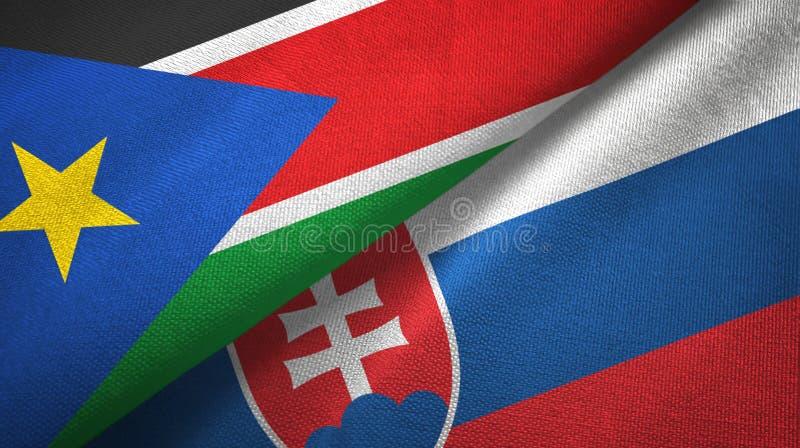 Zuid-Soedan en Slowakije twee vlaggen textieldoek, stoffentextuur royalty-vrije stock fotografie