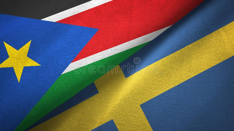 Zuid-Soedan en Zweden twee vlaggen textieldoek, stoffentextuur stock foto