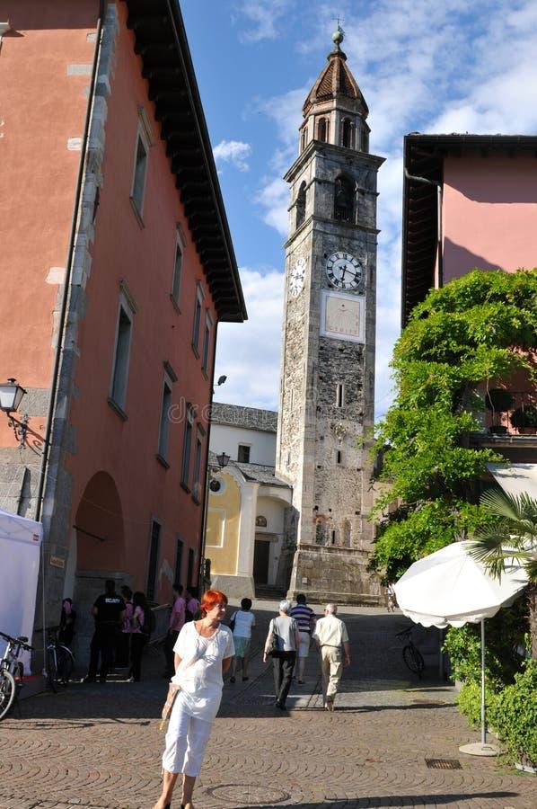 Zuid-Zwitserland: Torre in Ascona-Stad bij Meer Maggiore stock afbeelding
