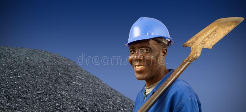 Zuidafrikaanse of Afrikaanse Amerikaanse mijnwerker stock afbeelding