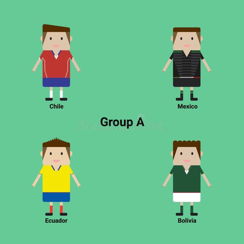 Zuidamerikaans Kampioenschap Groepeer A - Chili, Mexico, Ecuador, Bolivië royalty-vrije stock afbeelding