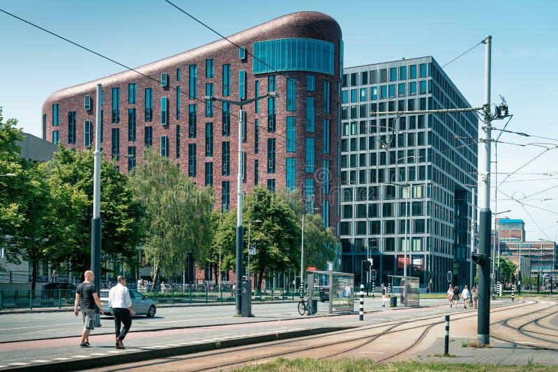 Zuidas in amsterdam, De Boelelaan, Sky scrapers, vu, wtc. Amsterdam, De Boelelaan, the Netherlands, 05/29/2019, Sky scrapers, Modern office buildings in royalty free stock photography
