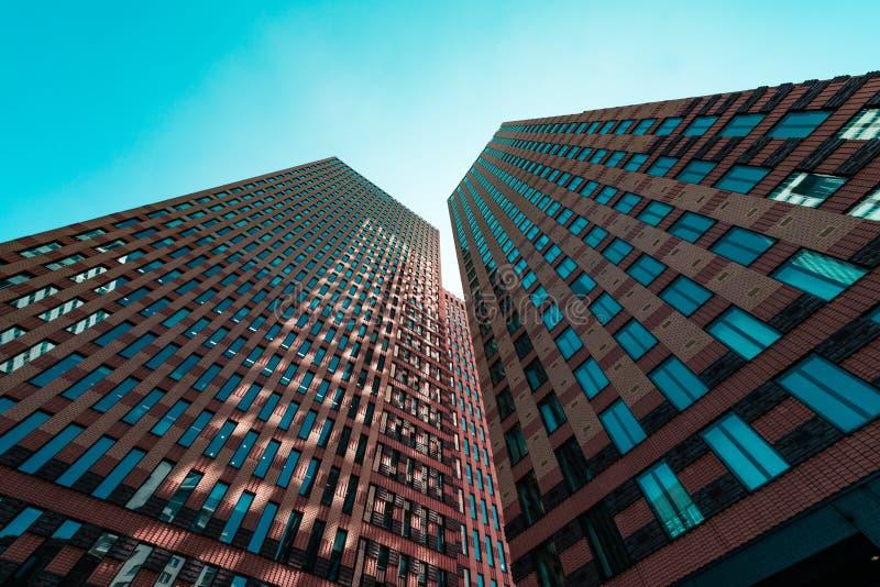 Zuidas in amsterdam, Gustav Mahlerlaan, Sky scrapers. Amsterdam, Gustav Mahlerlaan, the Netherlands, 05/29/2019, Sky scrapers, Modern office buildings in royalty free stock photos