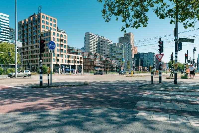 Zuidas in amsterdam, Parnassusweg, Sky scrapers. Amsterdam, Parnassusweg, the Netherlands, 05/29/2019, Sky scrapers, Modern office buildings in Amsterdam zuidas stock photography