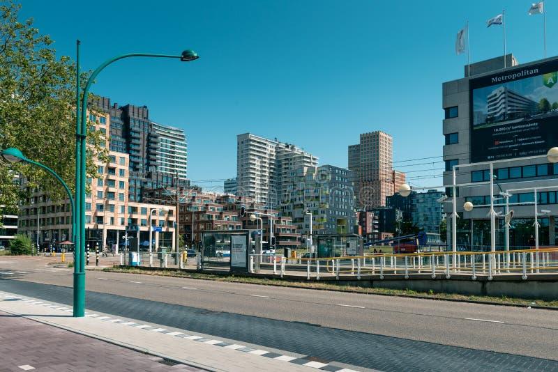 Zuidas in amsterdam, Parnassusweg, Sky scrapers, wtc. Amsterdam, Parnassusweg, the Netherlands, 05/29/2019, Sky scrapers, Modern office buildings in Amsterdam stock image