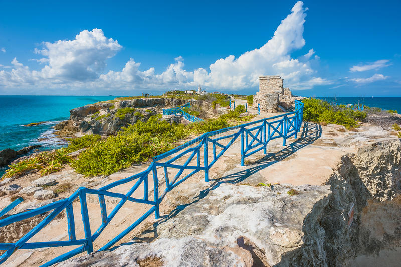 Zuidelijk uiteinde van Isla Mujeres, Mexico stock fotografie