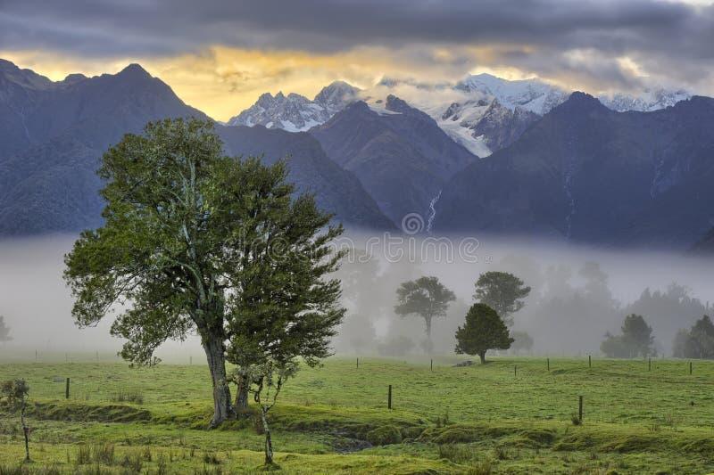 Zuidelijke Alpen in vroeg ochtendlicht royalty-vrije stock foto's