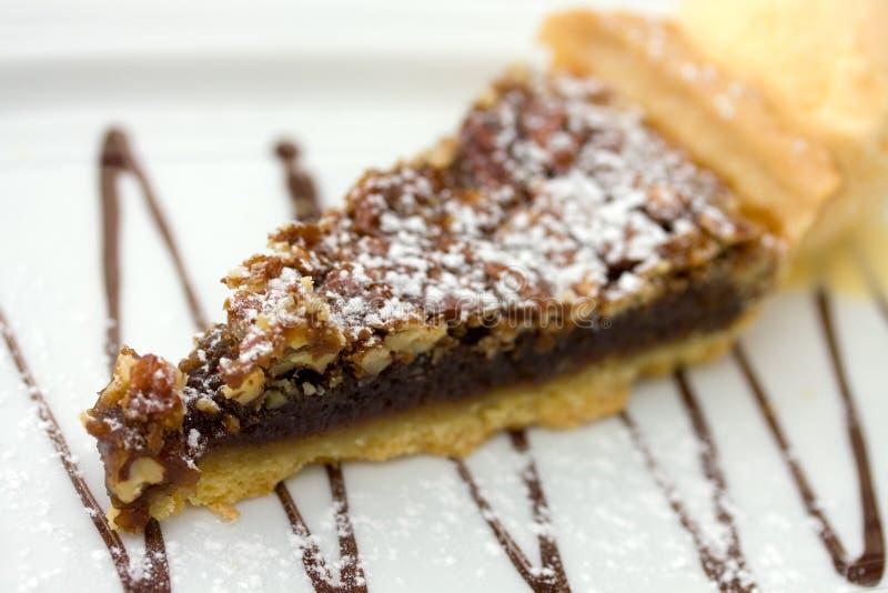 Zuidelijke chocoladeschilfer okkernoot-pecannoot geïsoleerde pastei stock fotografie