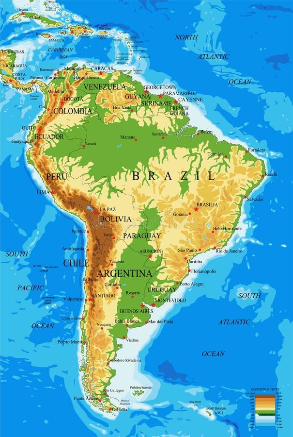 Zuiden Amerika-Fysieke kaart royalty-vrije illustratie