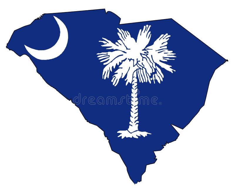 Zuiden Carolina Outline Map en Vlag vector illustratie