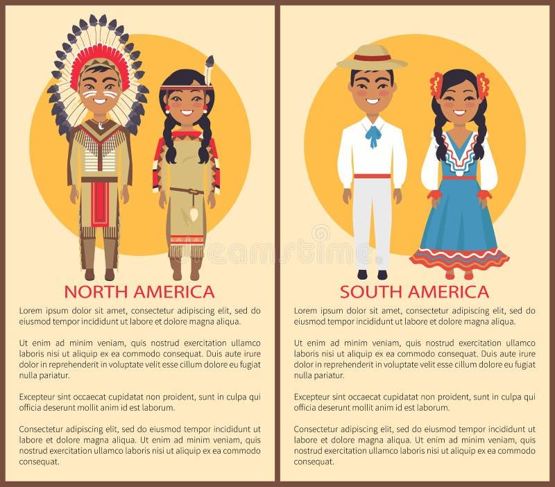 Zuiden en van Noord-Amerika Mensencultuur en Douane royalty-vrije illustratie