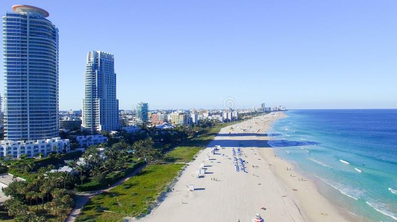 Zuiden Pointe, Miami Lucht mening van het strand van Miami stock foto's