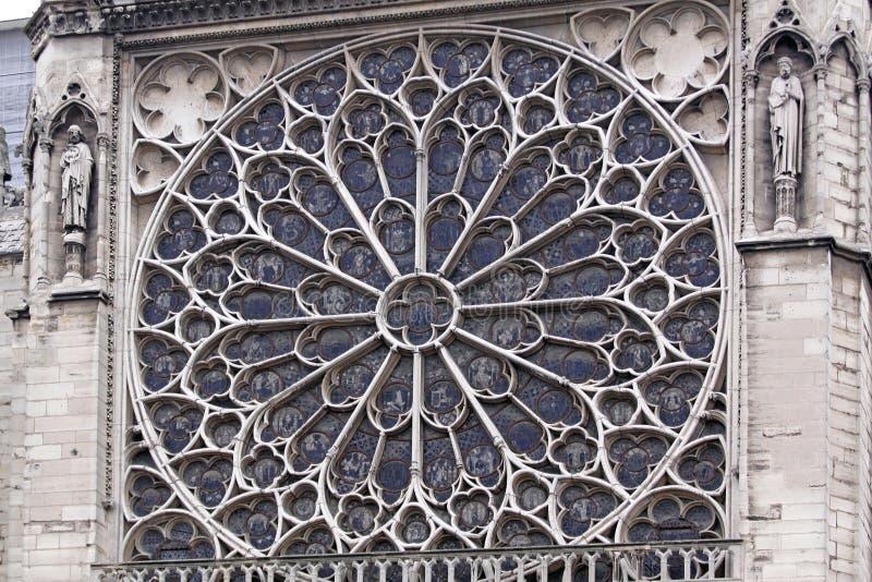Zuiden Rose Window Notre Dame stock afbeelding