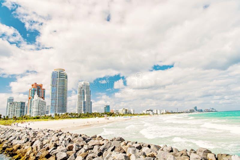 Zuidenstrand, het Strand van Miami florida stock afbeelding