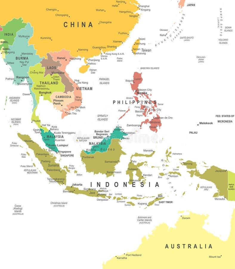 Zuidoost-Azië - kaart - illustratie royalty-vrije illustratie
